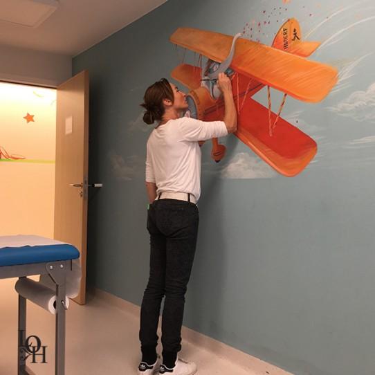 Fresque salle de consultation-avion -1