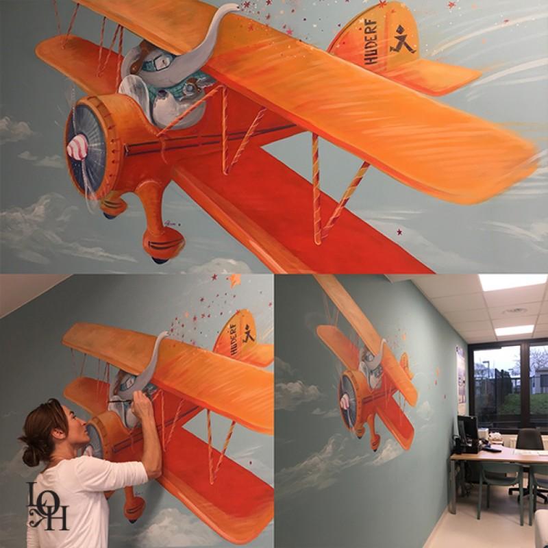 Fresque salle de consultations-avion -2