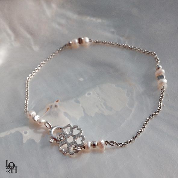 Bracelet argent perles fines