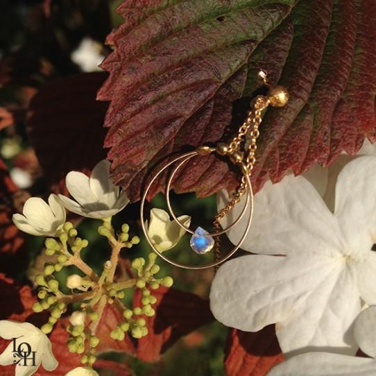 Boucles d'oreilles anneaux perles de lune