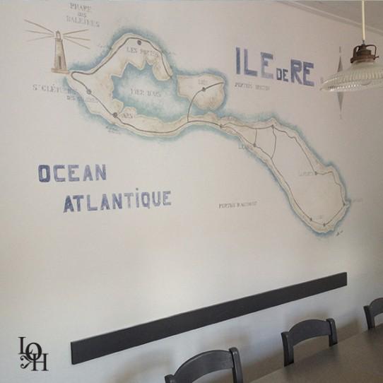 Fresque plan de l'île de Ré