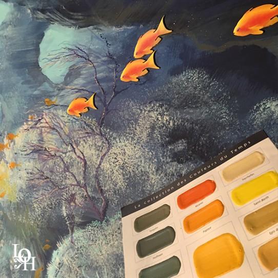 """Fresque murale """"Nemo 33 """" détail palette peinture"""