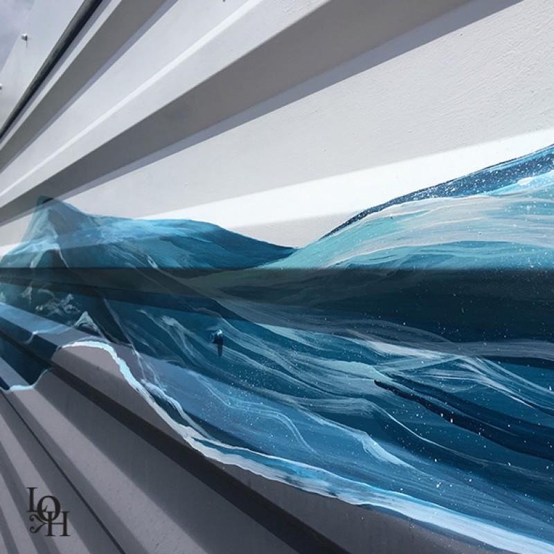 Fresque Nemo 33, façade détail vague