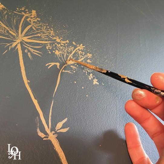 """Fresque murale """"Queen's Anne Lace"""" – peinture L.Henno"""