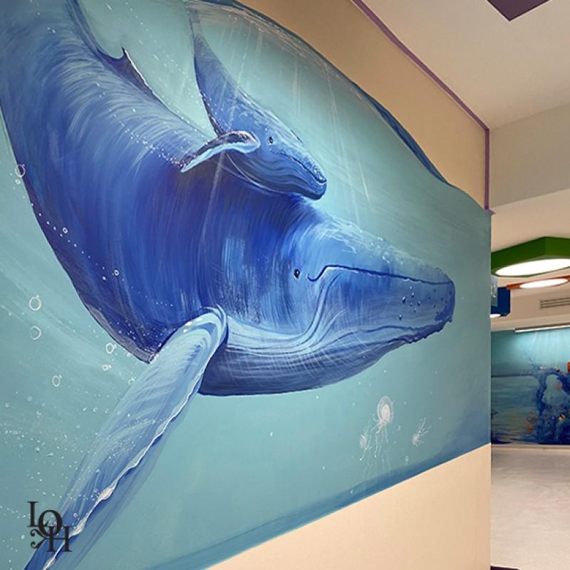 Salle d'attente Hopital des enfants Bruxelles, détail de fresque