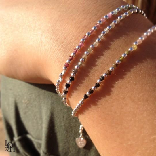 Bracelets perles d'argent et dégradé de cornalines