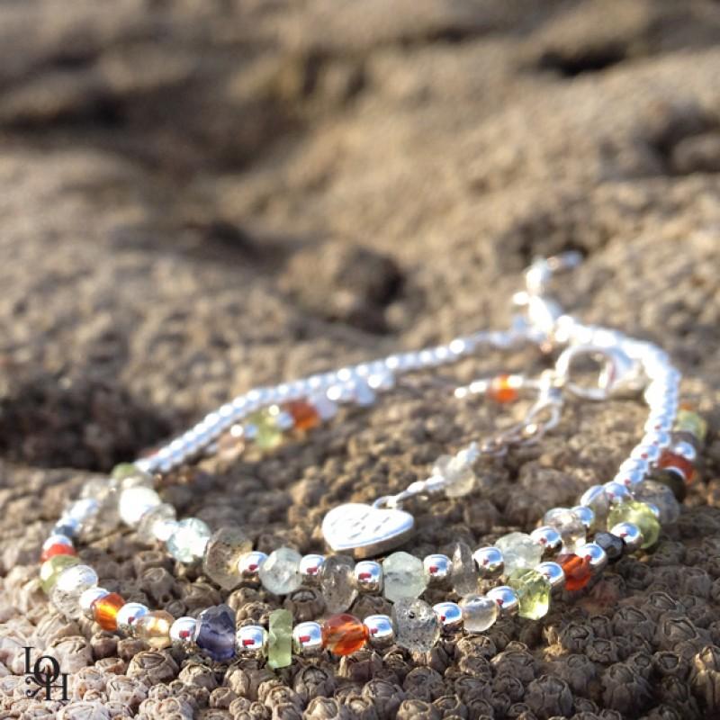 Bracelets perles d'argent & pierres semi-précieuses
